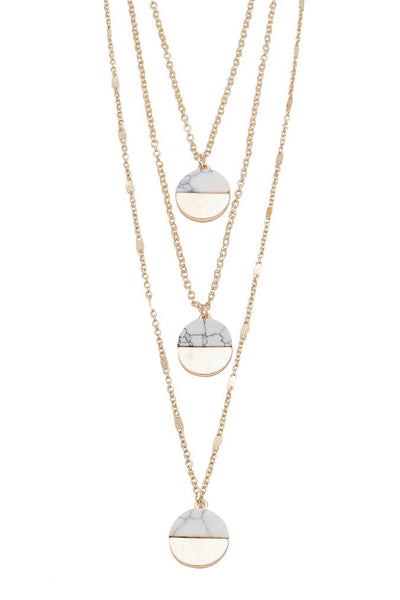 Triple Chain -  Half Marble/Gold Necklace