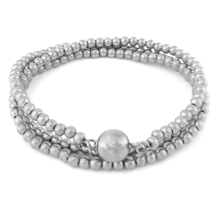 Triple Wrap Bead Bracelet– Steel
