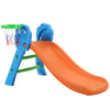 Kids Fun Slide with Basketball Hoop - Blue & Orange