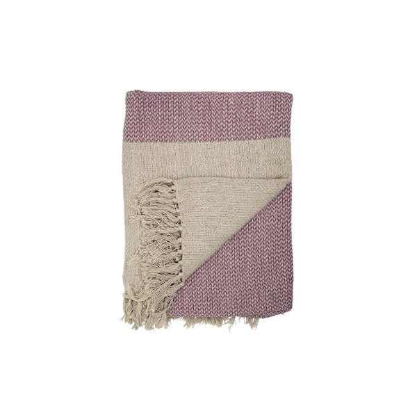 Cotton Throw In Rose/ Natural