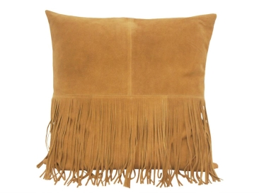 Suede Leather Cushion With Fringe - Caramel