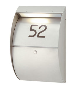 Aluminium Letterbox with house number & LED Light