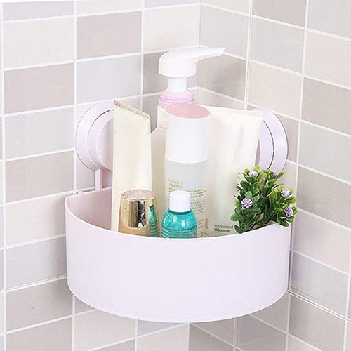 Plastic Suction Cup Bathroom Kitchen Corner Storage Rack