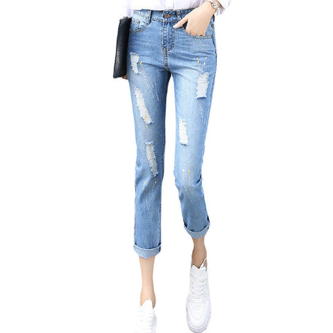 Korean Style Women Jeans Ankle-length Harem Denim Pants Casual Loose Skinny Femme Trousers Fashion Mid-waist Hole Ripped Pants
