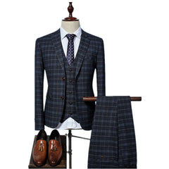 (Jacket+Vest+Pants) 2017 grid Men Suits Fashion wool Men's Slim Fit business wedding Suit men Wedding suit 3 colors