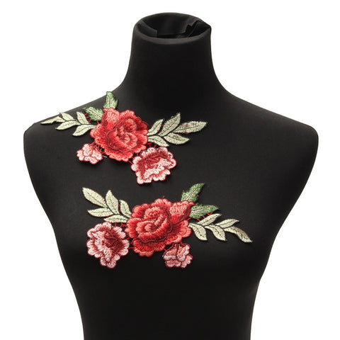Rose Flower Floral Collar Patch