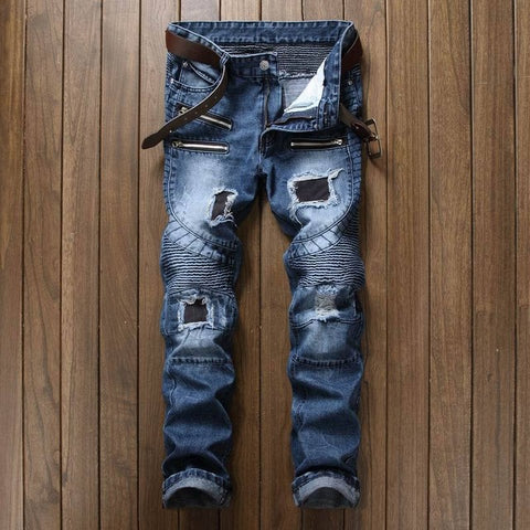Newsosoo Blue Print  Biker Men Jeans Ripped Slim Fit Hip Hop Denim Trousers Men`s Jeans High Quality Motorcycle Pants Punk Homme