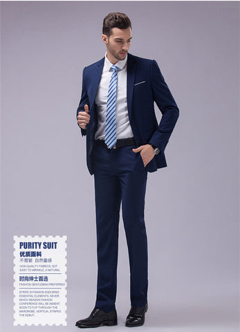 (Jackets+Pants) 2017 New Brand Wedding Party Business High Quality Formal Men Suits Slim Fit Suit 2 Pieces S-4XL