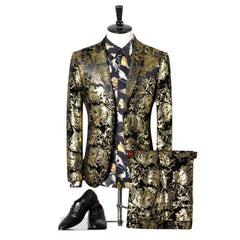 (Blazer+Pants)Men Wedding Suit Golden Tuxedo Paisley Flores Mens Stage Wear For Singer Slim Fit Sknniy Male Suit With Pants 3XL