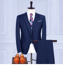 (Jacket+Pants+Vest+shirt+tie) Blue Retro gentleman style Men's suits tailor suit Blazer men formal prom wedding party