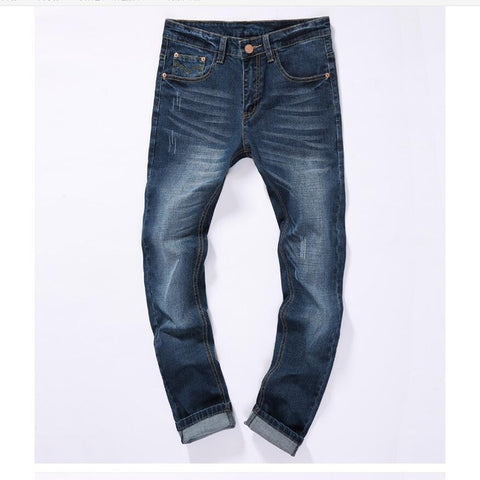 Good quality Men Cotton Straight Jeans New Male Classic Style Full Length Jeans Navy blue Denim Pants Jeans Size 38