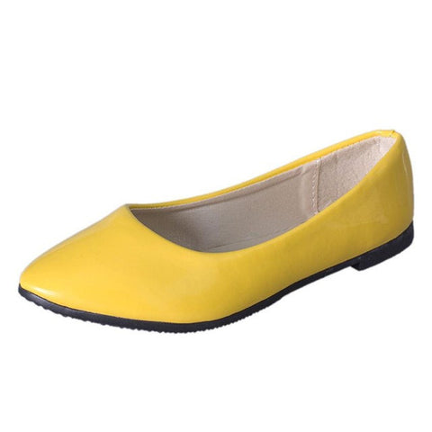 Flat Pointed Toe Leather Slip On