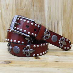 100% top layer rivet punk belt