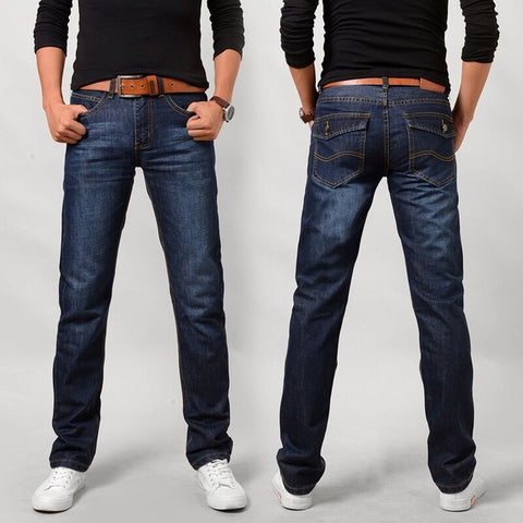 New 2017 Men's Fashion Boutique Pure Color Slim Leisure Straight Jeans / Male High Quality Blue Black Casual Jeans Men Trousers