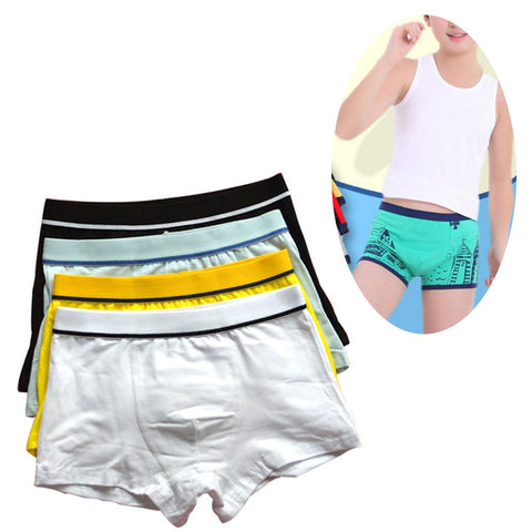 Men Solid Soft Cotton Kids Boys Underwear