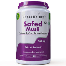 HealthyHey Safed Musli Extract - 40% Saponins - Extact 4:1-120 550mg Vegetable Capsules - HealthyHey