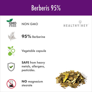 Berberis (Berberine 95%) with Milk Thistle - 60 Vegetable Capsules - HealthyHey