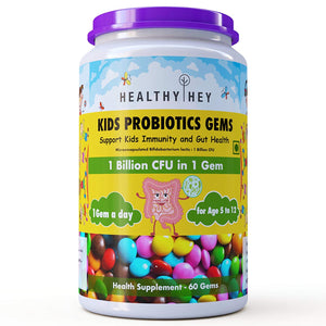 HealthyHey Probiotics Gems for Kids - 60 Gems, Support Kid's Immunity and Gut Health - Age 5 to 12 - Vegetarian - HealthyHey