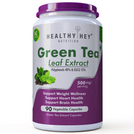Green Tea Extract Supplement- 40% Polyphenols 15% EGCG - 500 mg - 90 Vegetable Capsules - HealthyHey