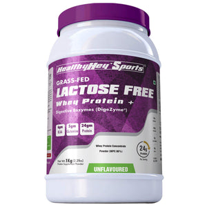 Lactose Free Whey Protein Powder with Digestive Enzyme (Produced in Poland) 1 KG (Unflavoured) - HealthyHey