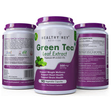 HealthyHey Premium Green Tea Extract Supplement- 40% Polyphenols 15% EGCG - 500 mg - 90 Vegetable Capsules - HealthyHey