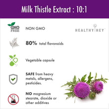 HealthyHey Milk Thistle Extract 600 mg, 120 Vegetable Capsules | 25:1 (Silymarin Marianum) - Milk Thistle Supplement - HealthyHey