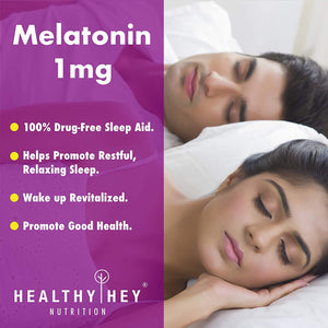 Sleep Aid Melatonin 1mg, 120 vegetable capsules - Promotes Sleep and Relaxatio - HealthyHey