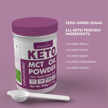 Keto MCT Oil Powder, Coconut Medium Chain Triglycerides for Pure Clean Energy, Ketogenic Non-Dairy Coffee Creamer, Bulk Supplement, Helps Boost Ketones, Unflavored 500g