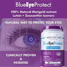 HealthyHey BlueEyeProtect Natural Lutein and Zeaxanthin - Protection from Blue Light and Eye Health - 24mg (60 Veg. Capsules) - HealthyHey