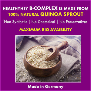 Natural Vitamin B-Complex - Made from Quinoa Sprout - Made in Germany - No Chemical - Non Synthetic (90 Vegetable Capsules) - HealthyHey