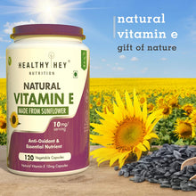Natural Vitamin E from Sunflower - D-Alpha-Tocopherol - 10mg - 120 Veg Capsules