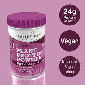 Plant Based Vegan Protein Powder, Strawberry Flavour, Low Net Carbs, Non Dairy, Gluten Free, Lactose Free, No Sugar Added, Soy Free, Non-GMO, 500 gram (Strawberry)