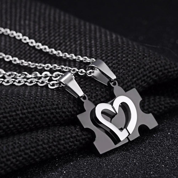 Charming Splice Heart Pendant Puzzle Design Stainless Steel Couple Necklace - VS STATIONS