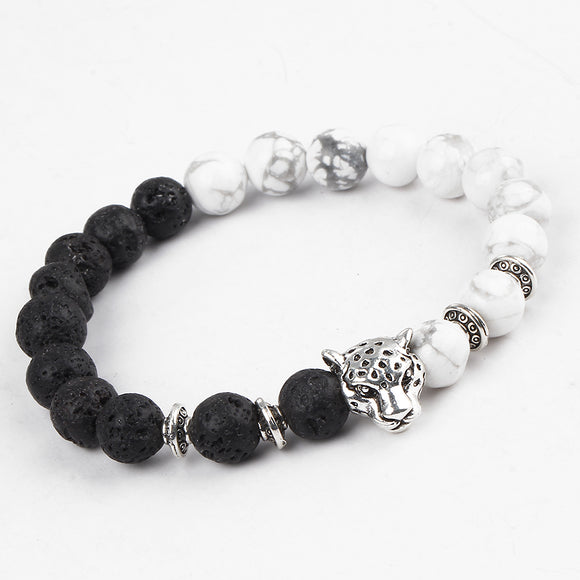Fashion White and Black Leopard Silver Color Stone Lava Bracelets - VS STATIONS