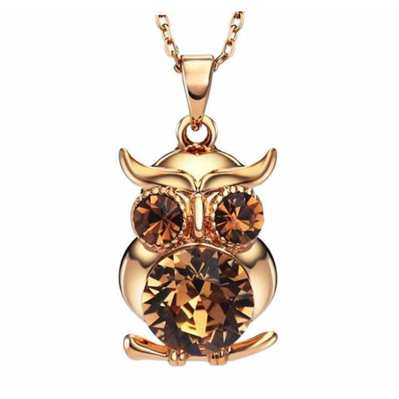 Exquisite Owl Shaped Lovely Cute Stylish Austria Rhinestone Pendant Necklace Jewelry For Lady - VS STATIONS