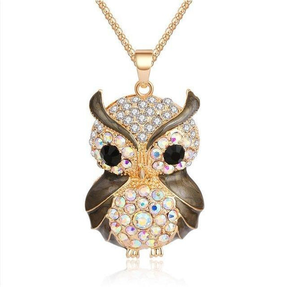 New Fashion Charms Owl Pendant Vintage Rhinestone Crystal Maxi Long Necklace - VS STATIONS