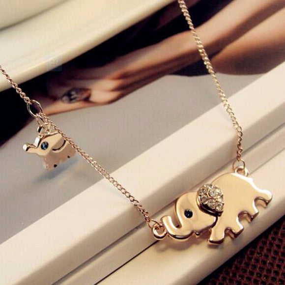 Cute Elephant Family walk-air design women charming crystal chain Chocker necklace - VS STATIONS