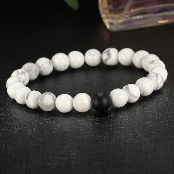 Unisex Yoga Smooth Synthetic Stone Barbell Bracelet - VS STATIONS