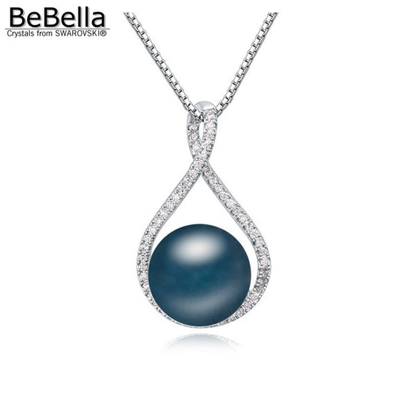 Crystal pearl pendant necklace with Swarovski Elements pearls and high quality zirconia pave setting - VS STATIONS