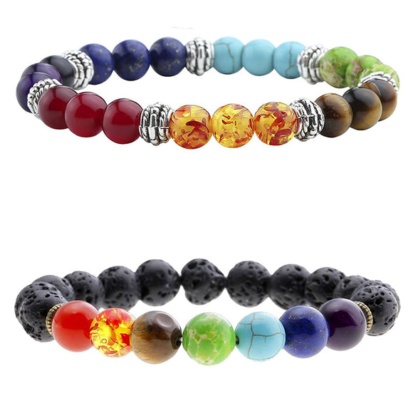 7 Chakra Natural Prayer Yoga Jewelry Stone Black Lava Healing Balance Beads Bracelet For Women Men - VS STATIONS
