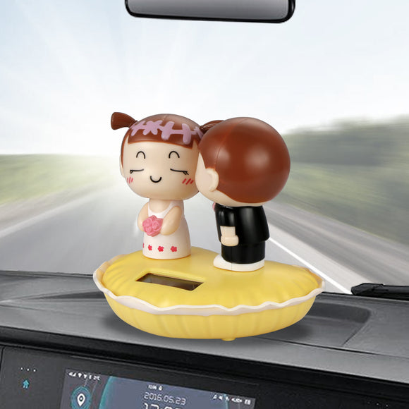 Cute Kiss Child Couple Dolls Solar Dashboard Decoration