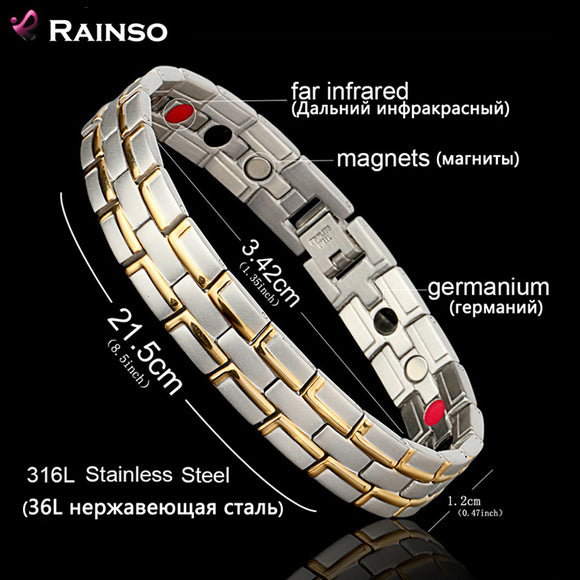 Healing Magnetic 316L Stainless Steel 3 Health Care Elements(Magnetic,FIR,Germanium) Bracelet - VS STATIONS