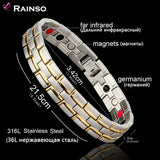 Healing Magnetic 316L Stainless Steel 3 Health Care Elements(Magnetic,FIR,Germanium) Bracelet