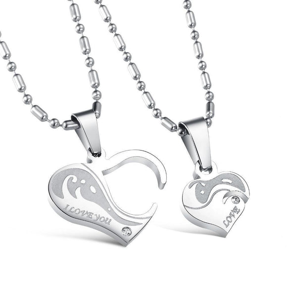 Romantic Charm 316L Stainless Steel Heart Pendant Chain Necklaces Couple Gift for Lovers - VS STATIONS