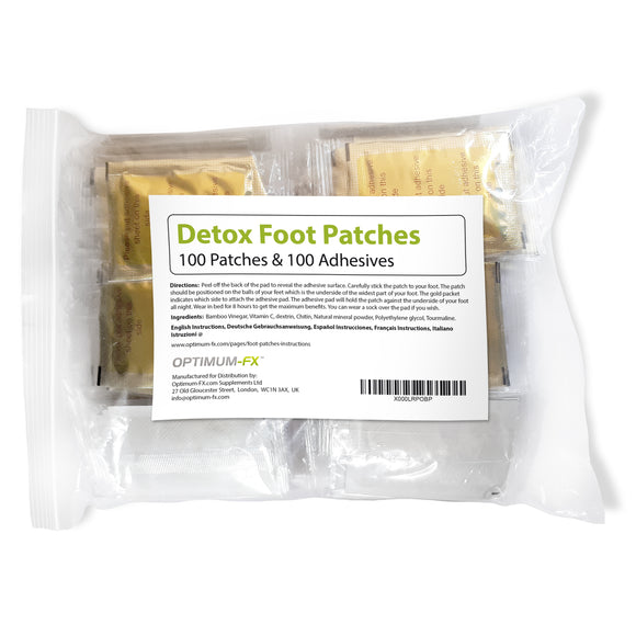 100 Gold Detox Foot Patches - Finest Quality Available - 50 Day Supply - 100 Patches with £6.99 Free Gift