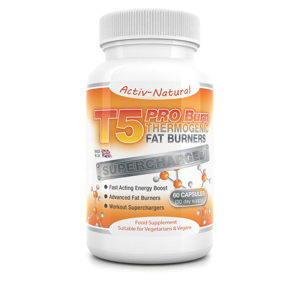 Activ-Natural T5 Pro-Burn Thermogenic Advanced Fat Burners - Fast Acting Workout Superchargers 60 capsules (30 day supply)