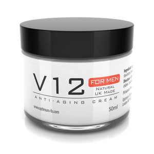 V12 Men's Anti-Aging Cream UK Made With Natural and Organic Ingredients Paraben & Cruelty FREE -50ml