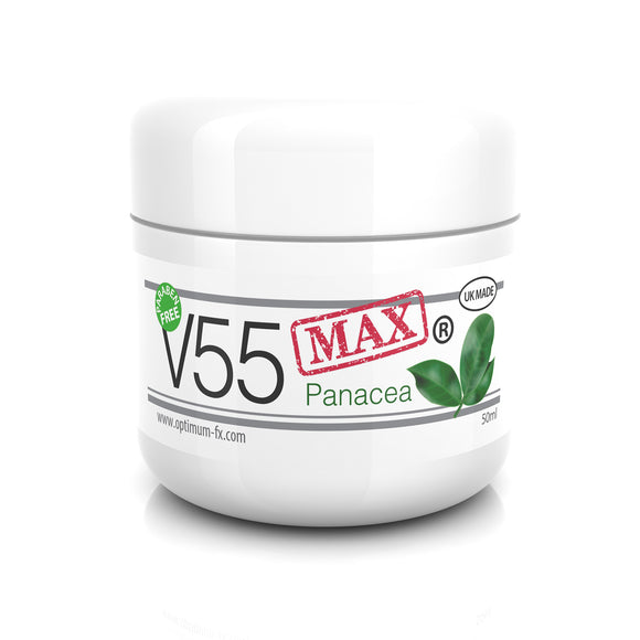 V55 MAX Panacea Natural Treatment Cream for Spots Blackheads Sebum Control Milia Blemishes Oily and Problem Skin - Antibacterial Retinol Like Effects -Suitable and Safe for those Prone to Acne – 50g