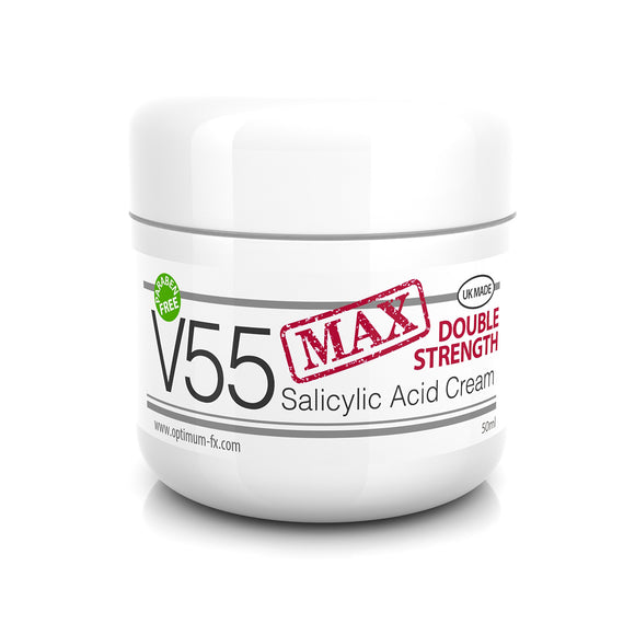 V55 MAX Salicylic Acid Cream for Spots Blackheads Blemishes Problem Skin Safe on Acne  - 50 grams