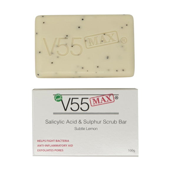 V55 MAX Salicylic Acid, Tea Tree Oil and Sulphur Soap Scrub for Spots Blackheads Milia Blemishes Problem Skin Suitable and Safe for those Prone to Acne - Paraben and Cruelty FREE - 100 grams